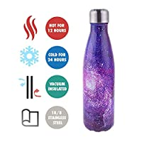 olyee 17oz Vacuum Insulated Water Bottle 500ml Double Wall Stainless Steel Bottle Leak Proof Hot & Cold Sports Drinks Bottle for Camping Cycling(Galaxy Purple)