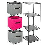 Ensemble de 4 pièces : 1 Meuble de rangement étagère casier + 3 Boîtes de rangement tiroirs - Coloris FRAMBOISE et GRIS
