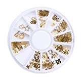 Demiawaking 12 Slot Autoadesivi per Unghie di Natale di disegno 3D dell'Oro Bling Bows Nail Art Per la Decorazione delle Unghie delle Donne