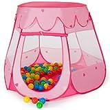 TecTake Carpa de juegos con 100 bolas piscina de bolas carpa infantil con bolsa - disponible en diferentes colores - (rosa | no. 400950)