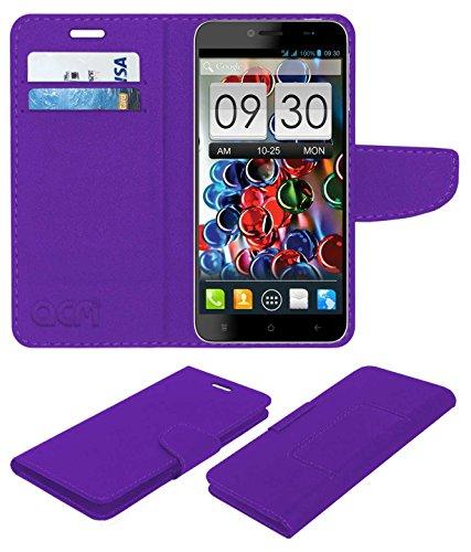 Acm Mobile Leather Flip Flap Wallet Case for Intex Aqua Octa Mobile Cover Purple