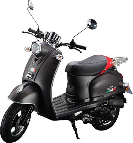 IVA Motorroller VENTI 50 Schwarz-Matt Mofa-Roller (25 km/h)