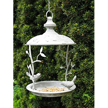 dp iron ornament mile style bird garden bath vintage unique feeder or decorative feeding cast heavy duty hanging