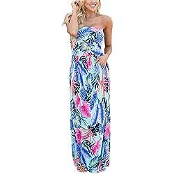 MODETREND Mujeres Vestidos Envuelto Pecho con Florales Impresa Vestido Largo Maxi Dress para Playa Vacation