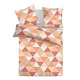 Arlette Orange - SoulBedroom 100% Coton Parure de lit (Housse de couette 200x200 cm & 2 Taies d'oreiller 50x75 cm)