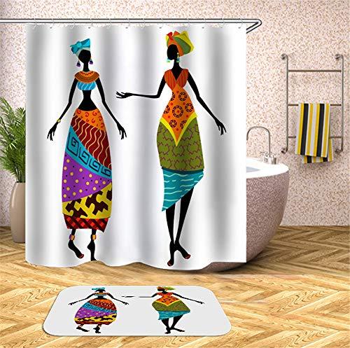 Kwboo Ägyptische Frauen Tragen Wunderschöne Kostüme. Duschvorhang. Wasserdicht. 180X180Cm. Teppich. Plus Samt. 40X60Cm.