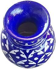 Aditya Blue Art Pottery Handmade Ceramic Decorative Vase Blue Color Best Sell On Amazon (4 Inches)
