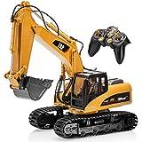 Top Race® Excavadora RC Profesional, Totalmente Funcional, con 15 Canales, con Batería, Tractor de construcción Controlado con Control Remoto ~ Pala de Metal ~ (TR-211)