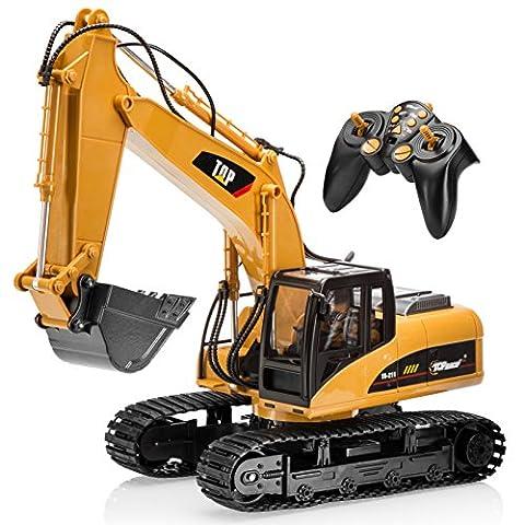 Top Race® 15-Kanal voll funktionsfähiger professioneller RC Bagger Fernbedienung traktor, batteriebetriebener Remote Control Bautraktor ~ Metall- Schaufel ~ (TR-211)