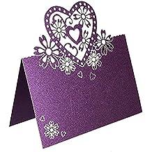 Leetop 50pcs/Lot Tarjetas de Nombre de Boda de Invitaciones de Romántico de Tallado de Corazón del Tabla de Tarjeta de Lugar Mesa para Boda Bautismo Cumpleaños Comunión Graduación Partido o Varias Ocasiones(Purple)