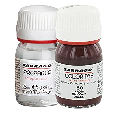 Tarrago Color Dye Double Teinture Colorante Cuir, Cuir Synthétique Et Textil Bouteille + Préparateur 25 millilitres Couleur Acajou-50
