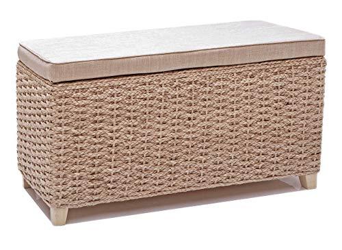 Büloo Bettbank Schlafzimmerbank Flurbank Schuhbank Sitzbank mit Aufbewahrung AufbewahrungshockerFaltbarer Aufbewahrungsbox aus natürlicher Wasserhyazinthe,mit Füße (70x30x40cm Plain Cream)