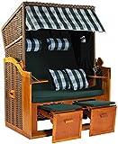 Möbelcreative Strandkorb Ostsee XXL Volllieger 2 Sitzer - 120 cm breit - grün weiß inklusive Schutzhülle, ideal für Garten und Terrasse