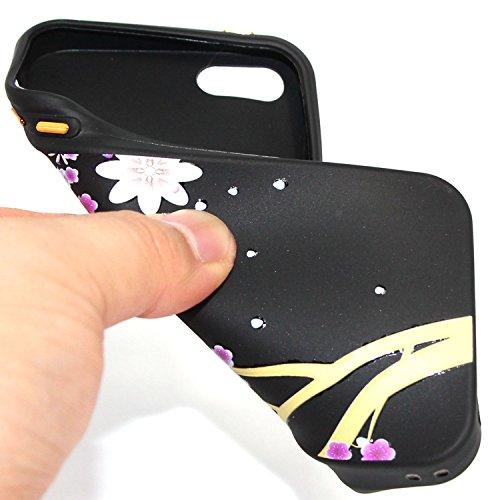 Coque Housse pour iPhone SE/5S, iPhone 5S Coque en Silicone Noir Fleurs Motif Etui Housse, iPhone 5S Souple Coque Etui en Silicone, iPhone 5S Silicone Black Case Slim TPU Cover, Ukayfe Etui de Protect fleur de prunier