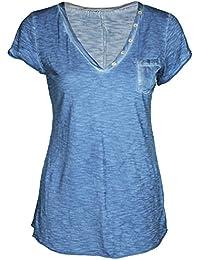 Mevina Damen T-Shirt Serafino V-Ausschnitt Vintage Melange Farben mit Brusttasche Top Shirt