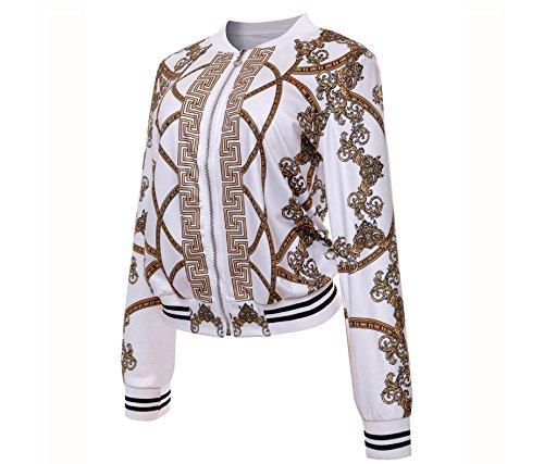 Xing Lin Camicetta Da Donna Giubbotto Da Donna Donna Girocollo Manica Lunga Cerniera Stampato Shirt M