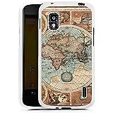 LG Nexus 4 Hülle Silikon Case Schutz Cover Vintage Weltkarte Karte Map