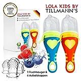 Lola Kids Fruchtsauger für Babys // 2 Fruchtsauger mit 6 Aufsatzkappen aus Silikon // Für weiche Lebensmittel, Obst und Gemüse // BPA-frei & CE-geprüft // Blau + Orange