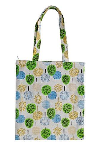 Nuni Damen Einkaufstasche mit buntem Baum, Baumwolle, Segeltuch, Beige, Beige (Zip Closure), Medium -