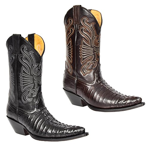 House of Luggage Bottes de Cowboy en Cuir Véritable Pour Homme Talon Western Longueur du Mollet Bout Pointu Chaussures HLG03CA