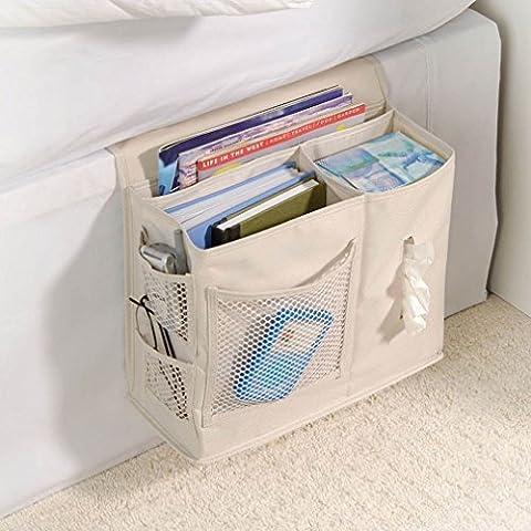 Dasking Sac de Rangement Suspend Canapé Sac de Stockage de Chevet Organisateur Pour Serviettes en papier/Magazines/Télécommande (Beige)