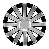 Autoteppich Stylers (Farbe und Größe wählbar) 15 Zoll Radkappen Onyx (Schwarz-Silber) passend für Fast alle Fahrzeugtypen (universal)