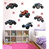 Creatick Studio 'Home Decor' Decorative 'Wall Stickers For Bedroom Kitchen' (Monster Trucks PVC Vinyl,85 CM X 57 CM)