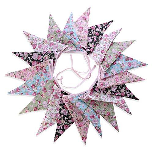 (Soleebee Wimpel Girlande Stoff Süße Blumen Bunting Banner, perfekte DIY Dekoration Dreieck Flagge Wimpelkette für Hochzeit, Babydusche, Geburtstag, Party, Kindergarten, Kinderzimmer (20 Stück))