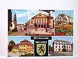 AK Weimar/Dichterstadt, Mehrbildkarte mit Schloß, Deutsches Nationaltheater, Am Markt, Wittumspalais und Platz der Demokratie, Ungelaufen.