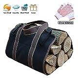Portalegna per camino Log Carrier, tela cerata borsa, 40,6x 81,3cm stufa a legna per camino accessori, nero