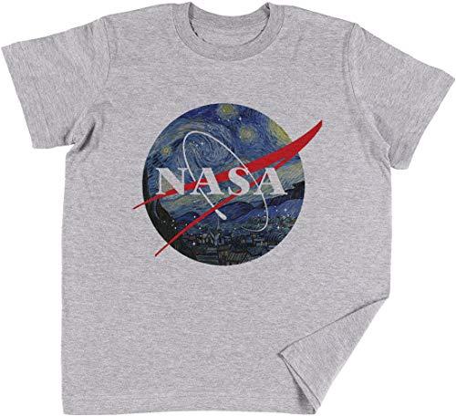 Vendax NASA Estrellado Noche Niños Chicos Chicas Unisexo Camiseta Gris