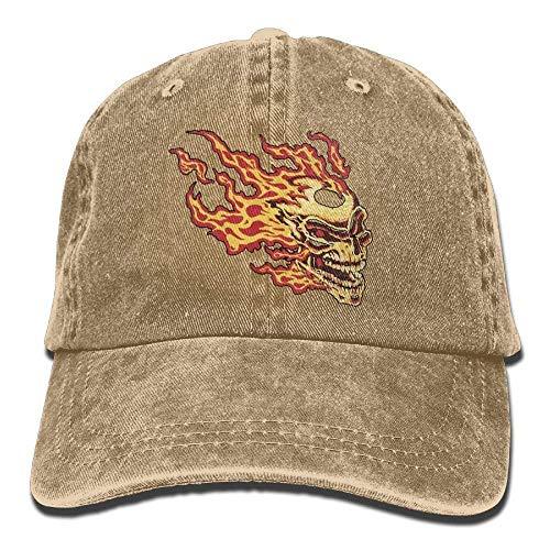 Scary Flaming Skull Denim Hat Adjustable Women Curved Baseball Caps cap (Leicht Tierarzt Kostüm)