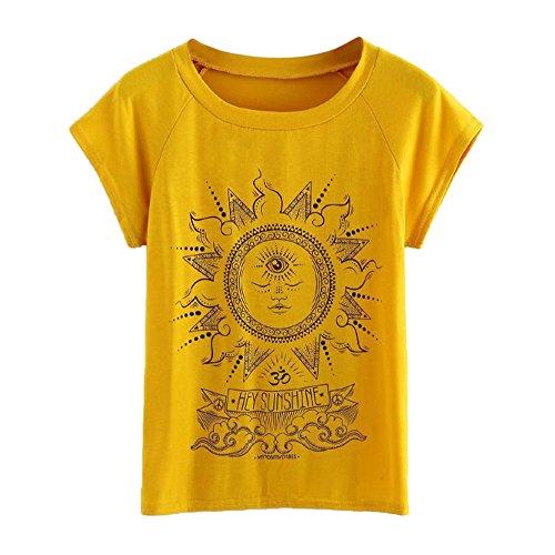 Holiday Kostüm Parade - Oyedens Hey Sunshine Große Größen T-Shirt Brief Druck mit Rundhalsausschnitt gedruckt Oansatz Kurzarm Bluse T Shirt Oberteil Tops