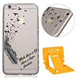 Apple iphone 6 Plus Hülle, iphone 6s Plus 5.5 Zoll Silikon Gel Schutzhülle, Ekakashop iphone 6s plus Weiche TPU Ultradünn Slim-Fit Smartphone Handyhüllen Tasche Back Cover Bumper, Transparent Crystal Clear Case Schale Etui Durchsichtig mit Niedliche Cartoon Tiere Malerei Weiß Blumen Flowers Henna Muster für iphone 6 Plus/6s Plus 5.5'' - Vogelfedern + 1x Kostenlos Ständer (Farbe zufällig)