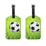 COOSUN Football Soccer In Net Luggage Tags Travel Labels Tag Name Card Holder for Baggage Suitcase Bag Backpacks, 2 PCS
