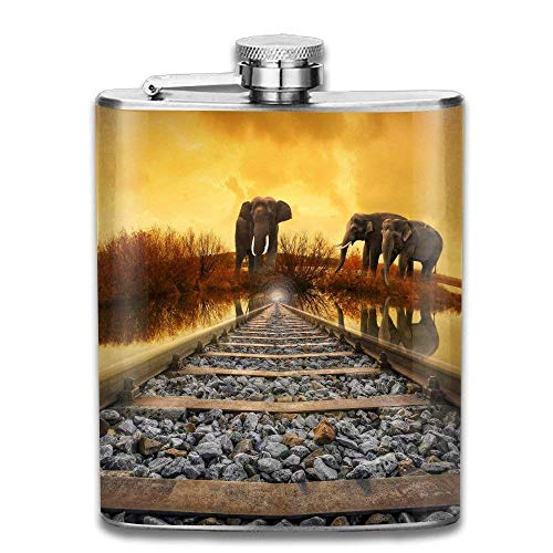 dfegyfr Thailand Railway Elephant Fashion Portable 304 Stainless Steel  Leak-Proof Alcohol Whiskey Liquor Wine 7OZ Pot Hip Flask Travel Camping  Flagon