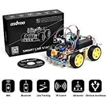 OSOYOO Arduino Robot Car Kit UNO R3 4WD WiFi Bluetooth IR Line Tracking DIY Car set Education Toys Christmas Gifts for Kids Android Remote Control Electronic Learning Kit with Tutorial