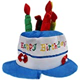Phenovo Baby Kids Happy Birthday Plush Party Cake Candles Design Hat Gift Fancy Dress Birthday Party Costume Clothing Accessory Small Size Blue