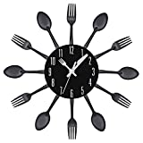 Multi-color Fork Spoon Kitchen Cutlery Wall Clock Home Decor