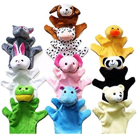 Happy Cherry - (Set de 10) Marionetas de Mano Animal Juguete para Niños Kids - Animales( Panda, Elefante, Pato, Perro,ect.)