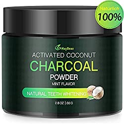 MayBeau Aktivkohle Pulver Zahnaufhellung 80g Groß Premium Natürliche Zahnreinigung 100% Activated Charcoal Teeth Whitening Powder Bleaching Zahnreinigung für Weiße Zähne Mint Flavour