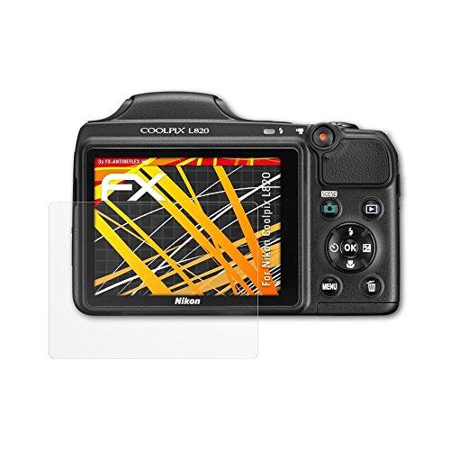 atFoliX Schutzfolie kompatibel mit Nikon Coolpix L820 Displayschutzfolie, HD-Entspiegelung FX Folie (3X)