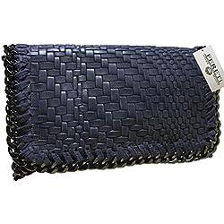 FERETI Bolso Azul De Mano Cuero Trenzado Cadena Piel Bolsos Italia S Bandoleras 100 Clutch Artesanal