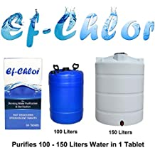 Ef-Chlor, Water Purification Tablets, Effervescent Tablets with Fast Dissolving Formula, Pack of 64 Tablets, 1 Tablet purifies Upto 150 Liters Water, 3 Years Shelf Life
