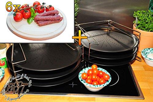 6x TRADITIONELL rundes Pizzablech mit gelochtem Boden + 2x 4 stufiger Edelstahl-Pizzablechhalter, ca. 33 cm x 1 mm & 6 Stk. Hochwertiges, dickes ca. 16 mm Buche - SPÜLMASCHINENFEST '*' -Grill-Holzbrett mit Rillung natur, Maße rund ca. 25 cm Durchmesser als Bruschetta-Servierbrett, Brotzeitbrett, Bayerisches Brotzeitbrettl, NEU Massive Schneidebretter, Frühstücksbretter,