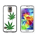 Marijuana Leaf Blätter–Topf Weed–Snap on Hard Schutzhülle für Samsung Galaxy S5–Schwarz