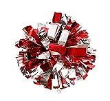 2du Plastique Cheerleader pom-pom girl pompons Feuille métallique et plastique Anneau Pom Sports Party accessoire de costume de boule de danse Déguisement Nuit de fête Sports pompons, Red+Siliver