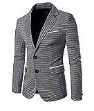 Allthemen Herren Slim Fit Reverse Kragen Sakko Freizeit Kariert Anzugjacke Farbe 2 X-Large