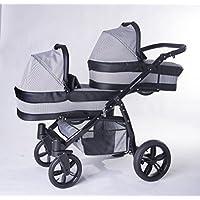 Carro gemelar 3en1 ISOFIX. Capazos+sillas+sillas de coche+Isofix+accesorios. BBtwin. Gris+cuero negro