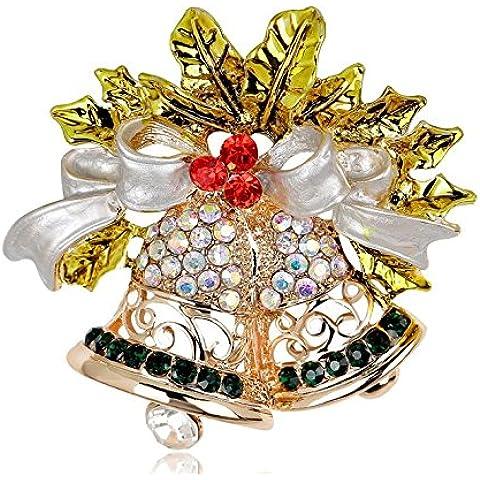parkinoon grande varietà Bell di Natale Strass Spilla Pin Natale festa regalo